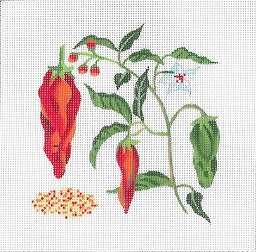 click here to view larger image of Botanical Spice Tile - Paprika (hand painted canvases)