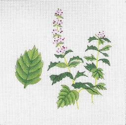 click here to view larger image of Botanical Spice Tile - Mint (hand painted canvases)