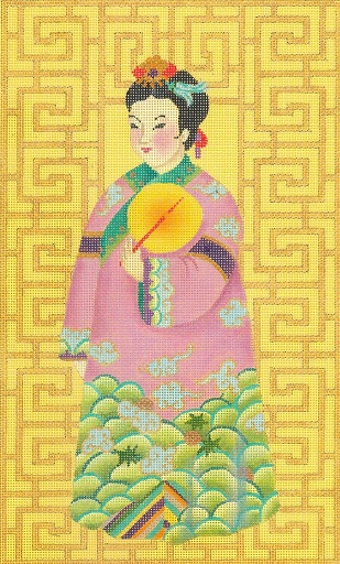 click here to view larger image of Chinese Lady With Fan (hand painted canvases)