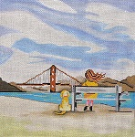 click here to view larger image of Bridge Gazing (hand painted canvases)