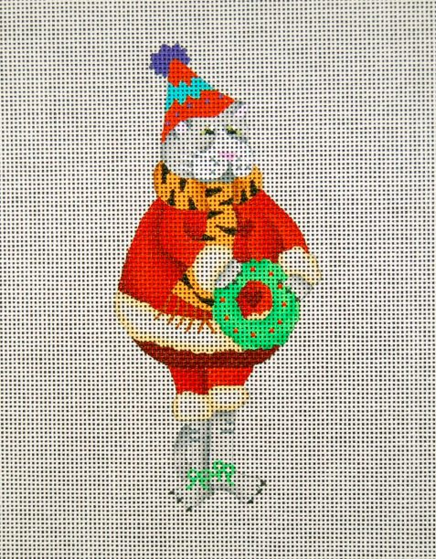 click here to view larger image of A Santa Cat With Wreath (hand painted canvases)