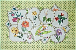 click here to view larger image of Twig Frame Floral Rug (hand painted canvases)