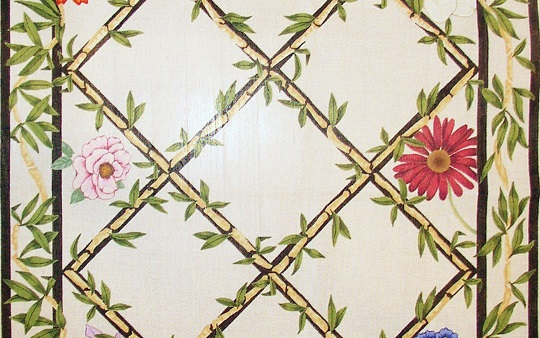 click here to view larger image of Floral / Bamboo Rug (hand painted canvases)