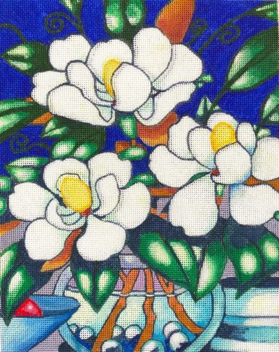 click here to view larger image of Magnolia Blossoms (hand painted canvases)