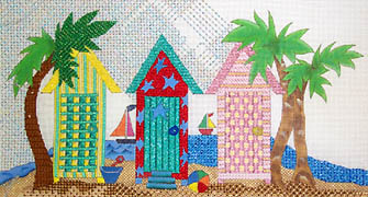 click here to view larger image of Cabanas by the Sea (hand painted canvases)