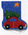 click here to view larger image of Bringing Home the Tree - Red Car (hand painted canvases)