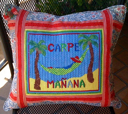 click here to view larger image of Carpe Manana (hand painted canvases)