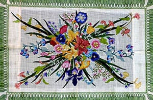 click here to view larger image of Tassel Flowers - Fringe Border (hand painted canvases)