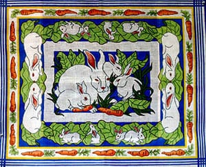 click here to view larger image of Garden Bunnies w/Carrot Border (hand painted canvases)