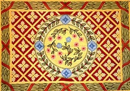click here to view larger image of Floral Geometric with Ribbon & Leaf Border (hand painted canvases)