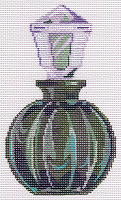 click here to view larger image of Round Green Perfume Bottle (hand painted canvases)