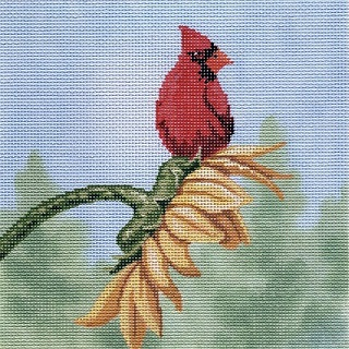 click here to view larger image of Cardinal on Sunflower (hand painted canvases)