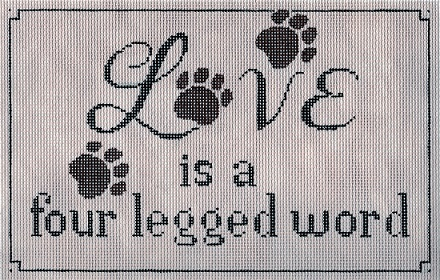 click here to view larger image of Love is a Four Legged Word (hand painted canvases)