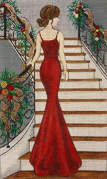 click here to view larger image of Lady in Christmas Red (hand painted canvases)