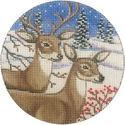 click here to view larger image of Two Deer Ornament (hand painted canvases)