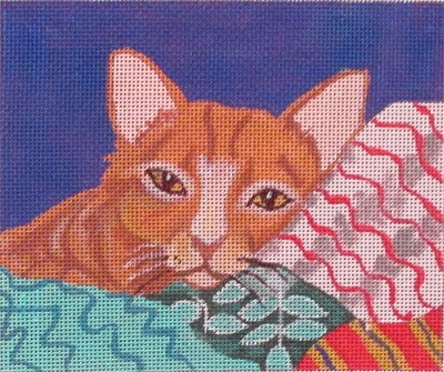 click here to view larger image of Cat w/ Quilt (hand painted canvases)