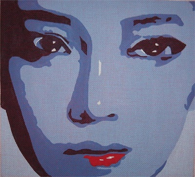 click here to view larger image of Face w/ Red Lips (hand painted canvases)