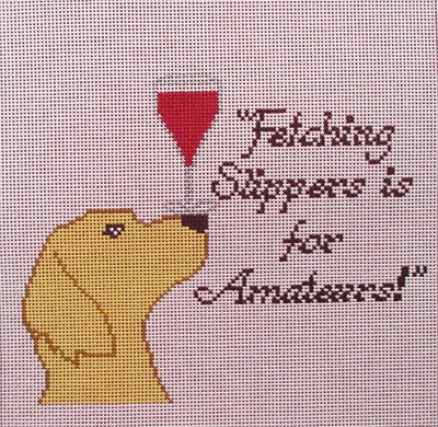 "click here to view larger image of ""Fetching Slippers is for Amateurs!"" (hand painted canvases)"