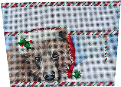 Brown Bear Stocking Cuff hand painted canvases
