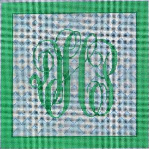 click here to view larger image of Monogram / Blue Fretwork Background (hand painted canvases)