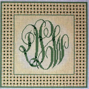 click here to view larger image of Woven Border Monogram - Green (hand painted canvases)