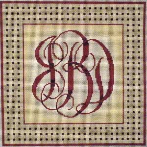 click here to view larger image of Woven Border Monogram - Red (hand painted canvases)