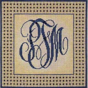 click here to view larger image of Woven Border Monogram - Blue (hand painted canvases)