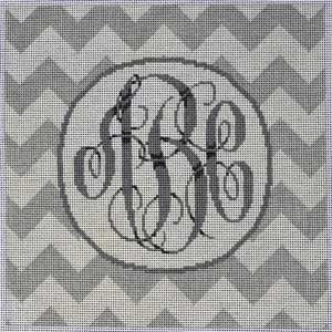 click here to view larger image of Grey / White Chevron Monogram (hand painted canvases)