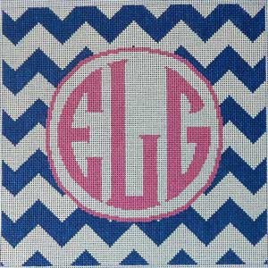 click here to view larger image of Chevron Monogram / Navy (hand painted canvases)