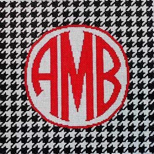 click here to view larger image of Houndstooth Monogram / Black (hand painted canvases)