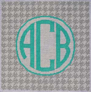 click here to view larger image of Grey / White Houndstooth Monogram (hand painted canvases)