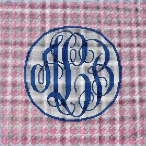click here to view larger image of Houndstooth Monogram / Pink (hand painted canvases)