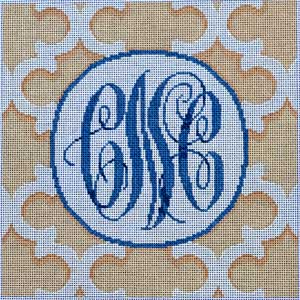 click here to view larger image of White / Cream Quatrefoil Monogram (hand painted canvases)