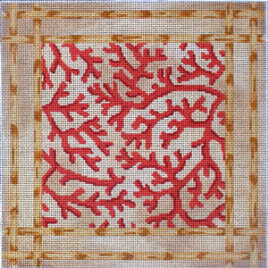 click here to view larger image of Coral Bamboo Border (hand painted canvases)