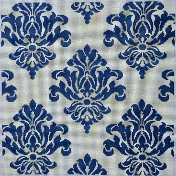 click here to view larger image of Cream / Navy Damask (hand painted canvases)