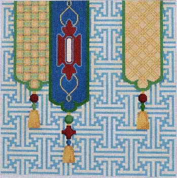 click here to view larger image of Fretwork Tassels Large (hand painted canvases)