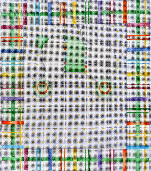 click here to view larger image of Baby Sampler Bunny / Wheels Plaid (hand painted canvases)