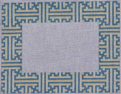 click here to view larger image of Blue / Cream Fretwork Frame (hand painted canvases)