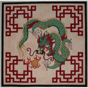 click here to view larger image of Dragon Fretwork (hand painted canvases)