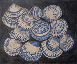 click here to view larger image of Blue and White Shells (hand painted canvases)