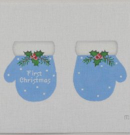 click here to view larger image of Baby's First Christmas Mittens - Blue (hand painted canvases)