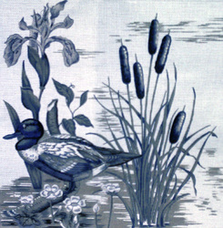 click here to view larger image of Blue Duck Toile (hand painted canvases)