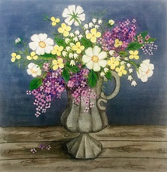 click here to view larger image of Floral Vase I (hand painted canvases)