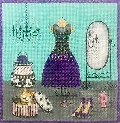click here to view larger image of Purple Dress & Accessories (hand painted canvases)