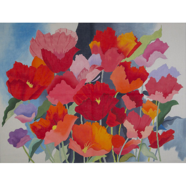 click here to view larger image of Large Watercolor Poppies (hand painted canvases)