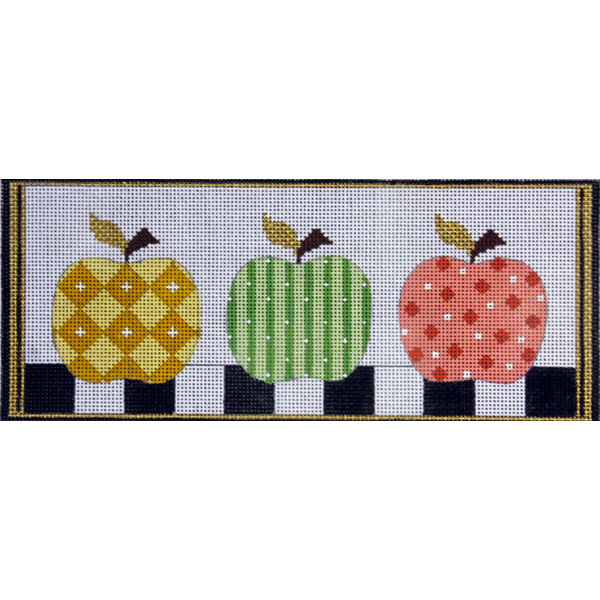 click here to view larger image of Patterned Apples (hand painted canvases)