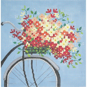 click here to view larger image of Bicycle on Blue (hand painted canvases)