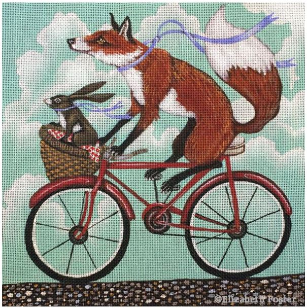 Fox & Rabbit Bike Ride hand painted canvases