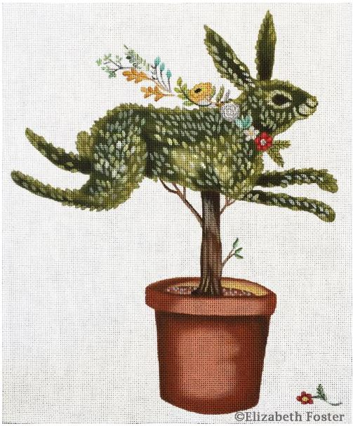 click here to view larger image of Rabbit Topiary (hand painted canvases)
