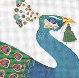 click here to view larger image of Jeweled Peacock (hand painted canvases)